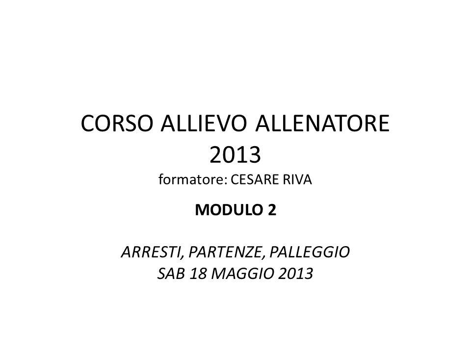 CORSO ALLIEVO ALLENATORE 2013 formatore: CESARE RIVA MODULO 2 ARRESTI, PARTENZE, PALLEGGIO SAB 18 MAGGIO 2013