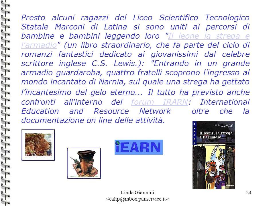 Linda Giannini 24 Presto alcuni ragazzi del Liceo Scientifico Tecnologico Statale Marconi di Latina si sono uniti ai percorsi di bambine e bambini leg