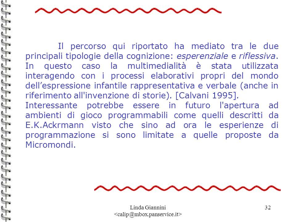 Linda Giannini 32 Il percorso qui riportato ha mediato tra le due principali tipologie della cognizione: esperenziale e riflessiva. In questo caso la