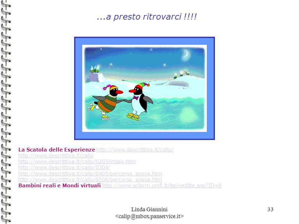 Linda Giannini 33...a presto ritrovarci !!!! La Scatola delle Esperienze http://www.descrittiva.it/calip/http://www.descrittiva.it/calip/ http://www.d