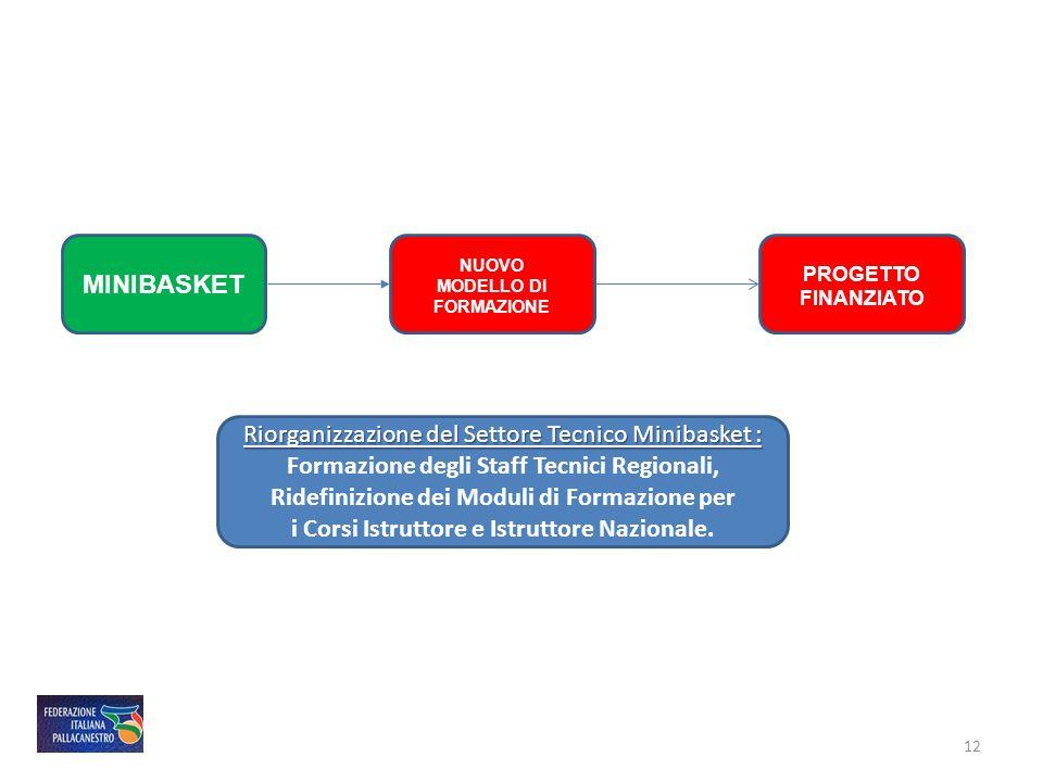 MINIBASKET PROGETTO FINANZIATO NUOVO MODELLO DI FORMAZIONE 12 Riorganizzazione del Settore Tecnico Minibasket : Formazione degli Staff Tecnici Regiona