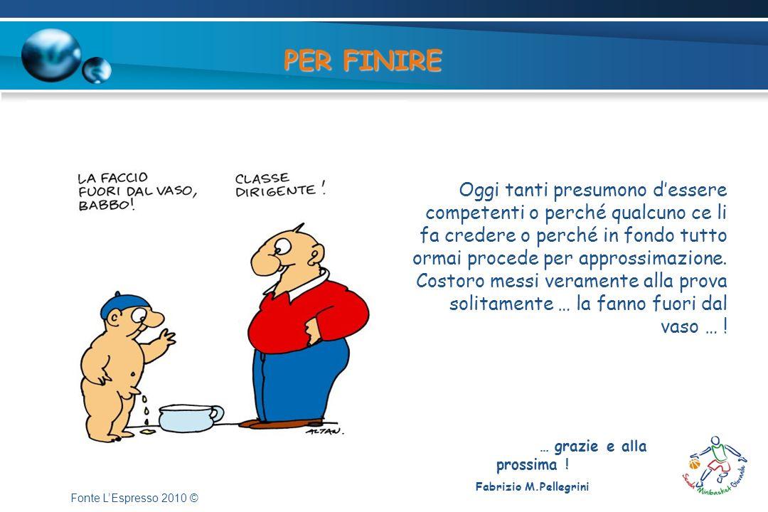 … grazie e alla prossima ! Fabrizio M.Pellegrini PER FINIRE Oggi tanti presumono dessere competenti o perché qualcuno ce li fa credere o perché in fon