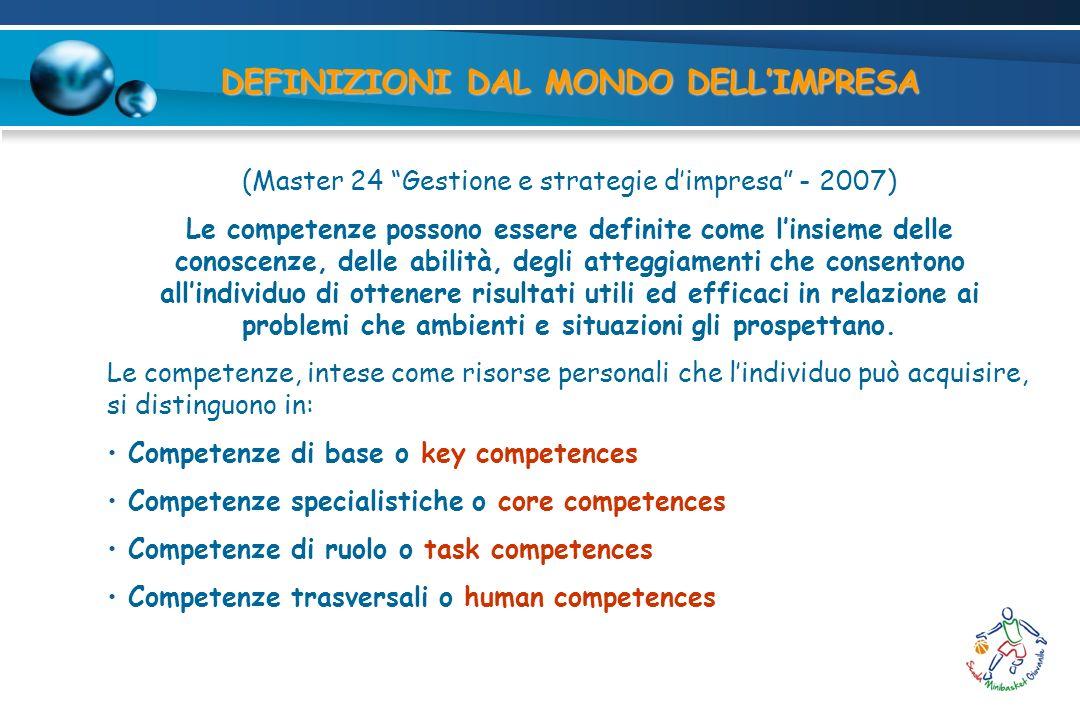 DEFINIZIONI DAL MONDO DELLIMPRESA (Master 24 Gestione e strategie dimpresa - 2007) Le competenze possono essere definite come linsieme delle conoscenz