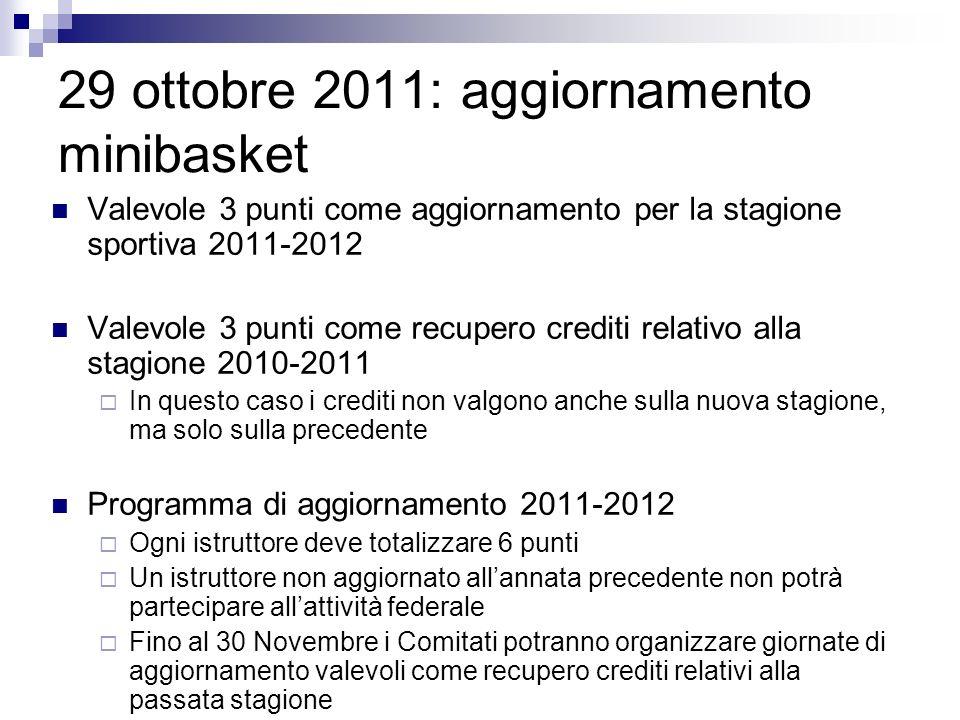 29 ottobre 2011: aggiornamento minibasket Valevole 3 punti come aggiornamento per la stagione sportiva 2011-2012 Valevole 3 punti come recupero credit