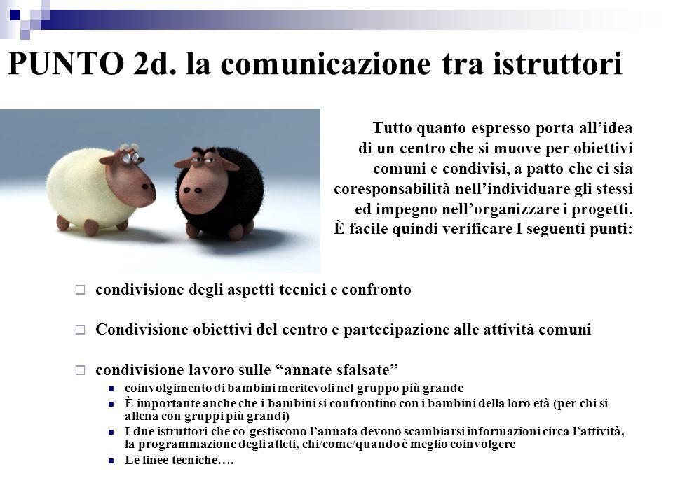 PUNTO 2d. la comunicazione tra istruttori Tutto quanto espresso porta allidea di un centro che si muove per obiettivi comuni e condivisi, a patto che