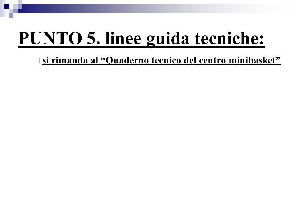 PUNTO 5. linee guida tecniche: si rimanda al Quaderno tecnico del centro minibasket