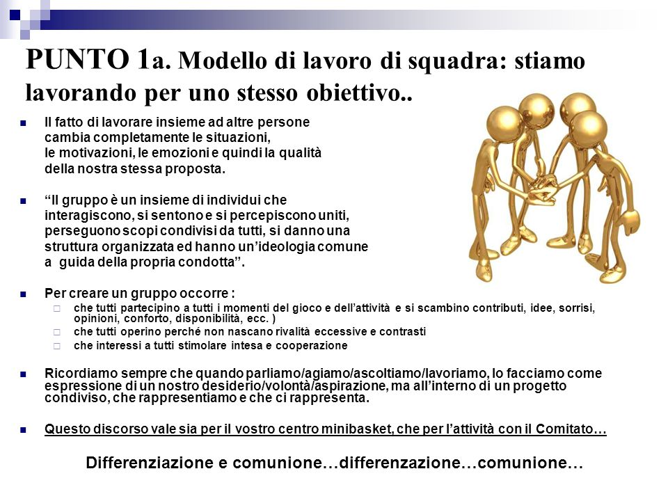 PUNTO 1 a. Modello di lavoro di squadra: stiamo lavorando per uno stesso obiettivo.. Il fatto di lavorare insieme ad altre persone cambia completament