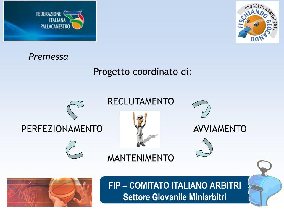 FIP – COMITATO ITALIANO ARBITRI Settore Giovanile Miniarbitri Premessa Progetto coordinato di: RECLUTAMENTO MANTENIMENTO PERFEZIONAMENTO AVVIAMENTO