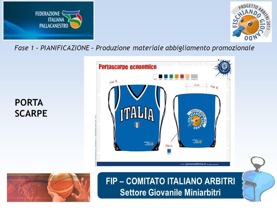 FIP – COMITATO ITALIANO ARBITRI Settore Giovanile Miniarbitri Fase 1 – PIANIFICAZIONE – Produzione materiale abbigliamento promozionale PORTA SCARPE