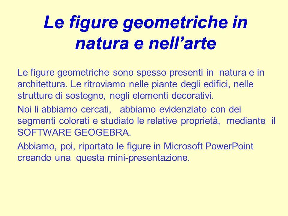 Le figure geometriche in natura e nellarte Le figure geometriche sono spesso presenti in natura e in architettura. Le ritroviamo nelle piante degli ed