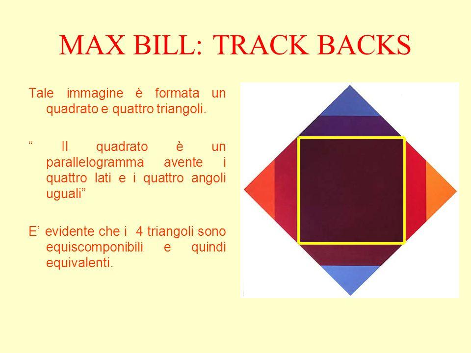 MAX BILL: TRACK BACKS Tale immagine è formata un quadrato e quattro triangoli. Il quadrato è un parallelogramma avente i quattro lati e i quattro ango