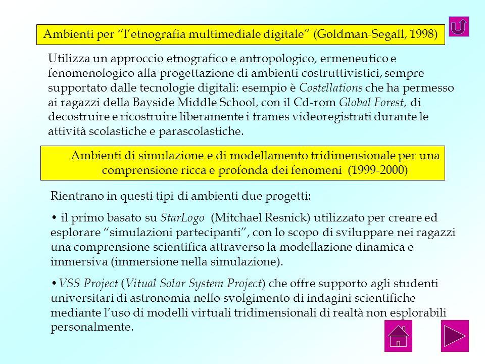 Ambienti per letnografia multimediale digitale (Goldman-Segall, 1998) Utilizza un approccio etnografico e antropologico, ermeneutico e fenomenologico