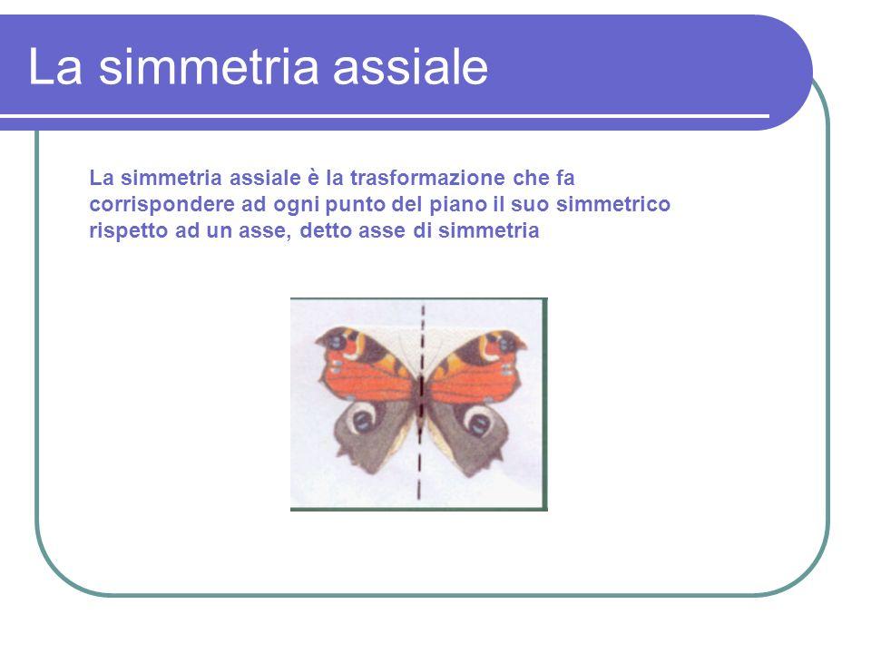 La simmetria assiale La simmetria assiale è la trasformazione che fa corrispondere ad ogni punto del piano il suo simmetrico rispetto ad un asse, dett