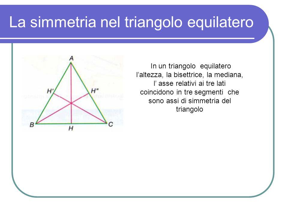 La simmetria nel triangolo equilatero In un triangolo equilatero laltezza, la bisettrice, la mediana, l asse relativi ai tre lati coincidono in tre se