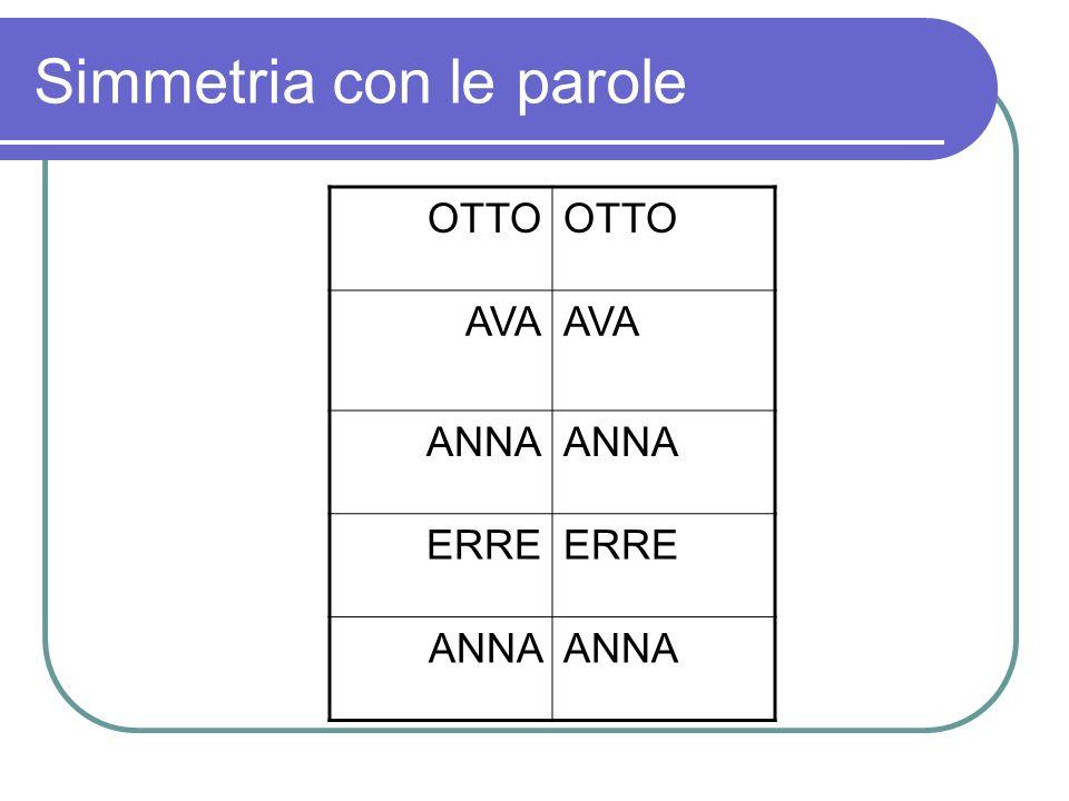 Simmetria con le parole OTTO AVA ANNA ERRE ANNA