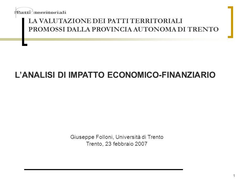 1 LA VALUTAZIONE DEI PATTI TERRITORIALI PROMOSSI DALLA PROVINCIA AUTONOMA DI TRENTO LANALISI DI IMPATTO ECONOMICO-FINANZIARIO Giuseppe Folloni, Univer