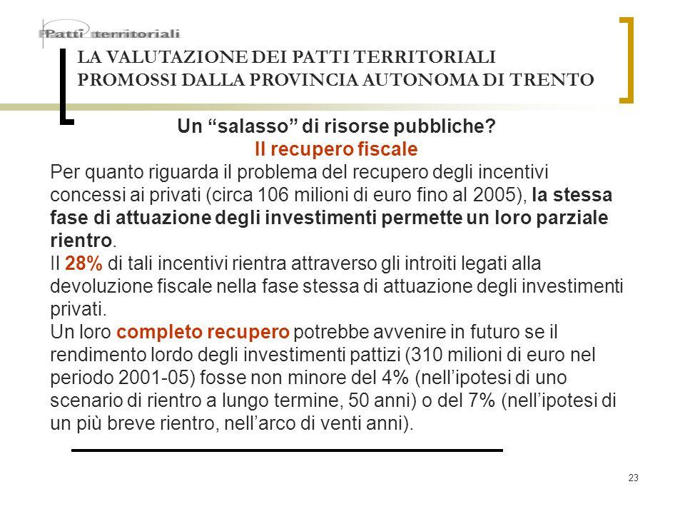 23 LA VALUTAZIONE DEI PATTI TERRITORIALI PROMOSSI DALLA PROVINCIA AUTONOMA DI TRENTO Un salasso di risorse pubbliche? Il recupero fiscale Per quanto r
