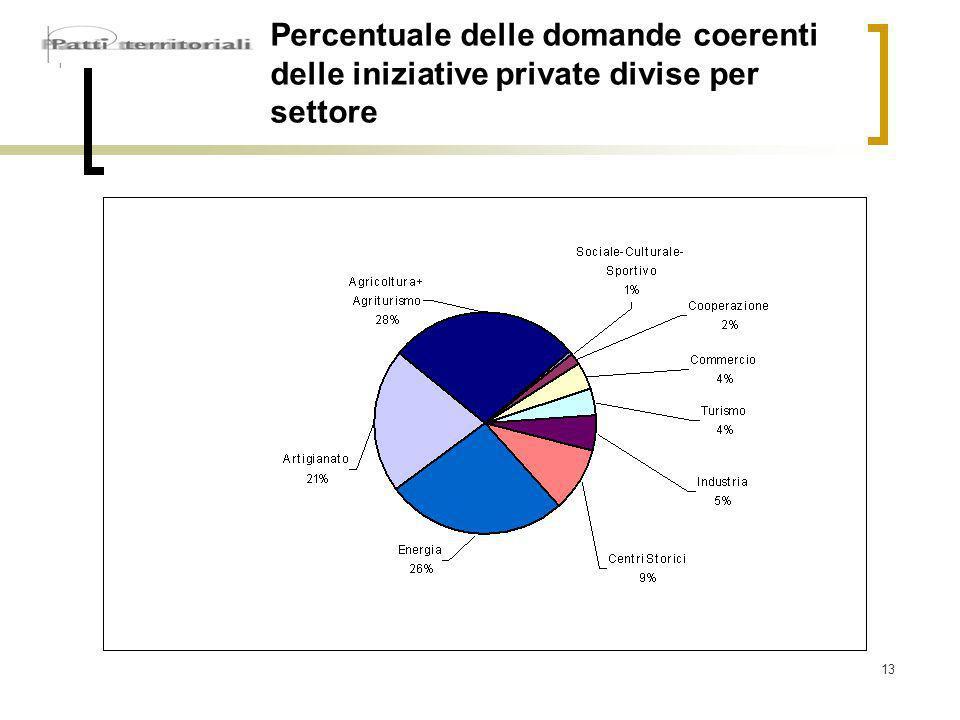 13 Percentuale delle domande coerenti delle iniziative private divise per settore