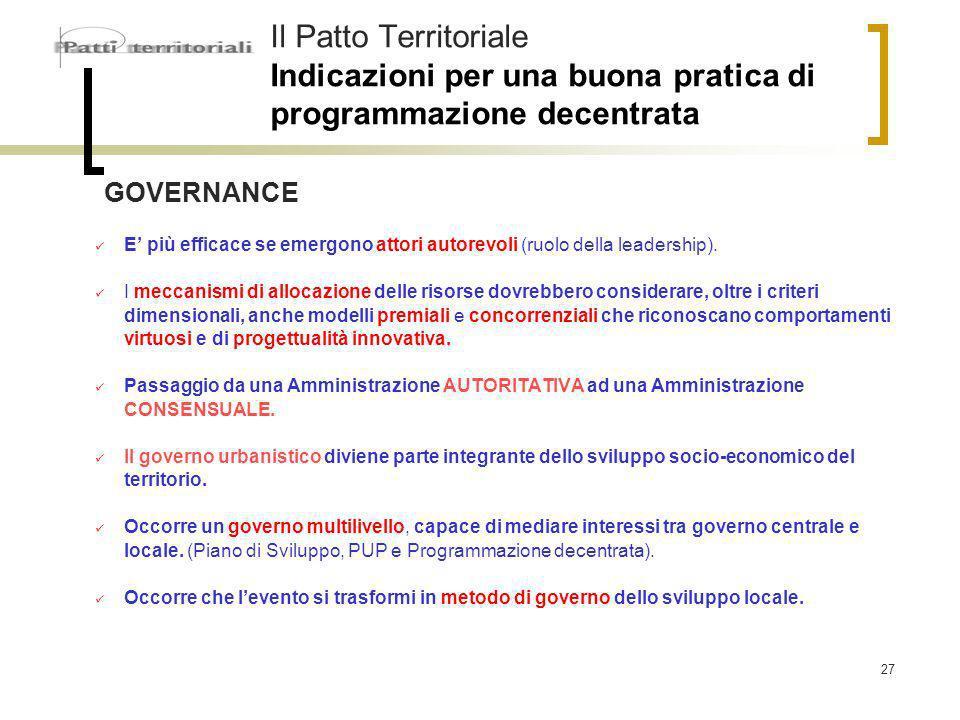 27 Il Patto Territoriale Indicazioni per una buona pratica di programmazione decentrata GOVERNANCE E più efficace se emergono attori autorevoli (ruolo della leadership).