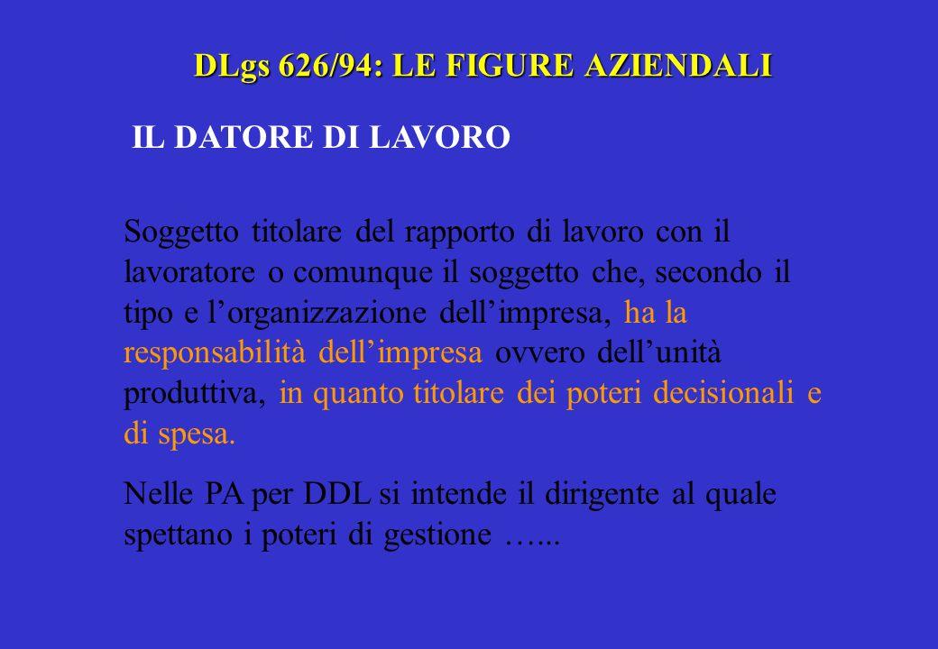DLgs 626/94: LE FIGURE AZIENDALI IL LAVORATORE Persona che presta il proprio lavoro alle dipendenze di un DDL, esclusi gli addetti ai servizi domestici e familiari, con rapporto di lavoro subordinato anche speciale.