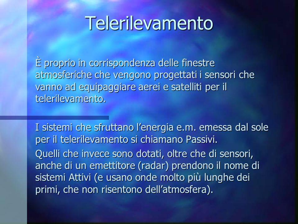 Telerilevamento È proprio in corrispondenza delle finestre atmosferiche che vengono progettati i sensori che vanno ad equipaggiare aerei e satelliti p
