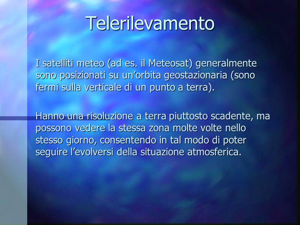 Telerilevamento I satelliti meteo (ad es. il Meteosat) generalmente sono posizionati su unorbita geostazionaria (sono fermi sulla verticale di un punt