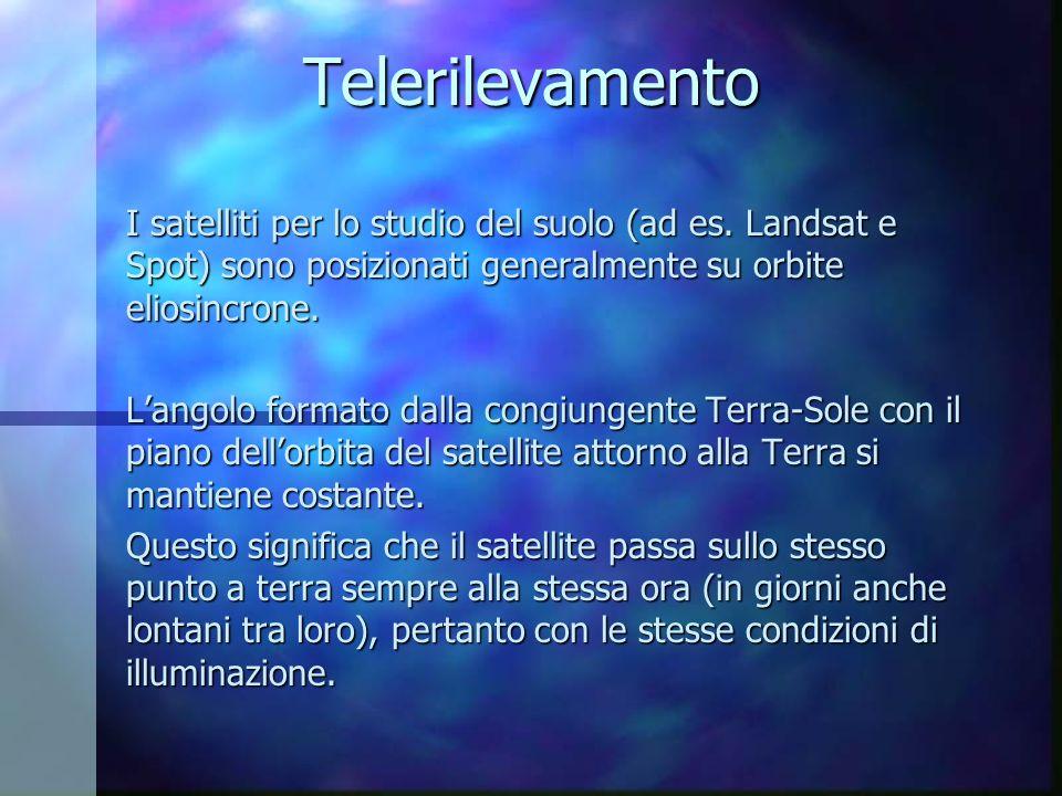Telerilevamento I satelliti per lo studio del suolo (ad es. Landsat e Spot) sono posizionati generalmente su orbite eliosincrone. Langolo formato dall