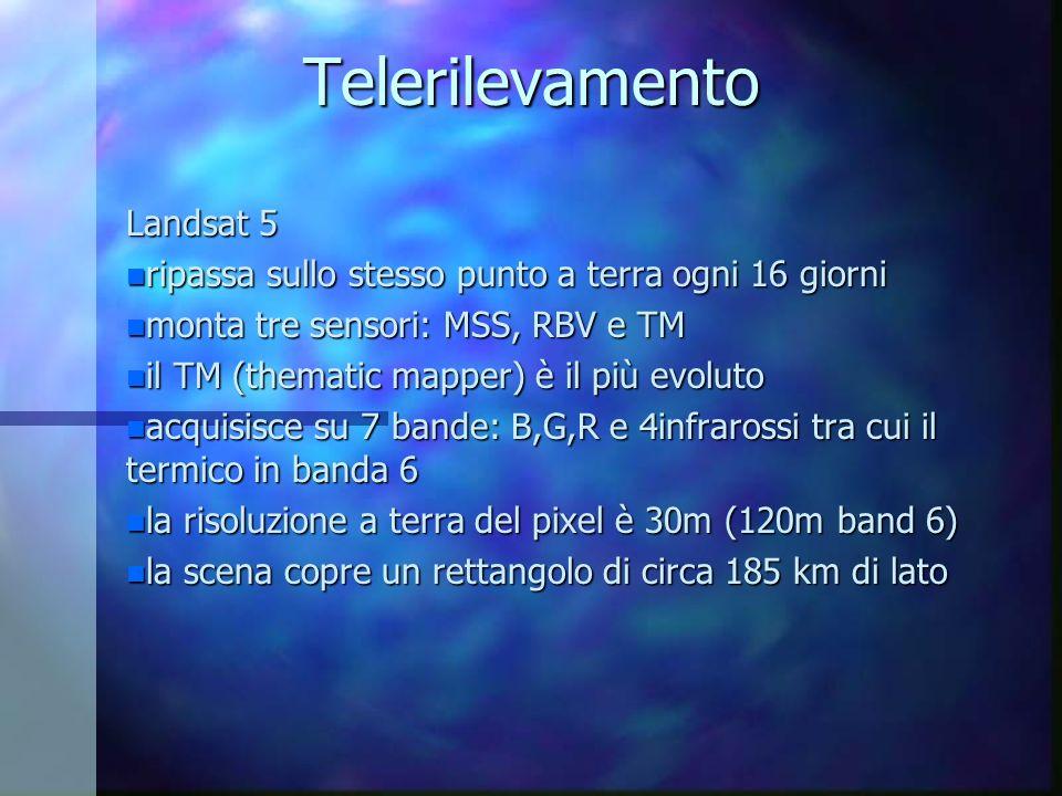 Telerilevamento Landsat 5 n ripassa sullo stesso punto a terra ogni 16 giorni n monta tre sensori: MSS, RBV e TM n il TM (thematic mapper) è il più ev