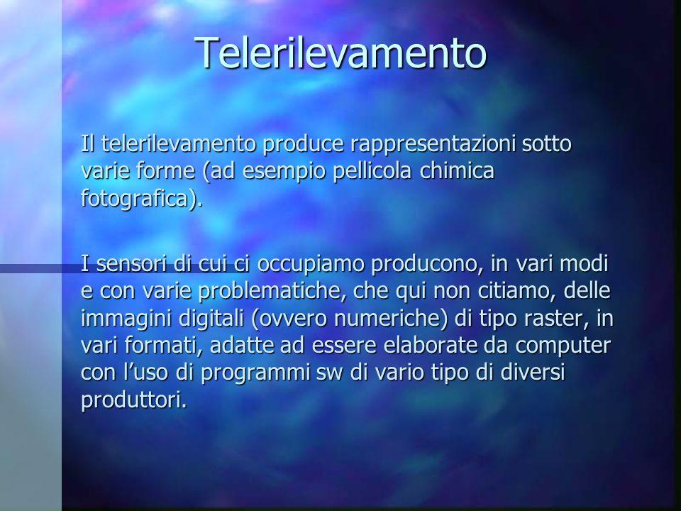 Telerilevamento Il telerilevamento produce rappresentazioni sotto varie forme (ad esempio pellicola chimica fotografica). I sensori di cui ci occupiam