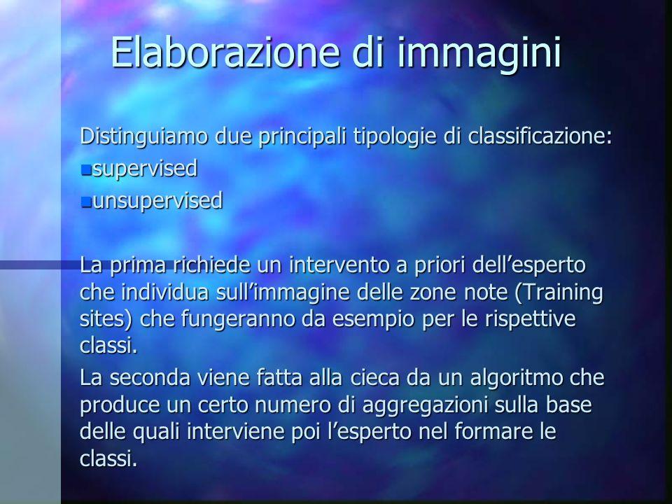 Elaborazione di immagini Distinguiamo due principali tipologie di classificazione: n supervised n unsupervised La prima richiede un intervento a prior