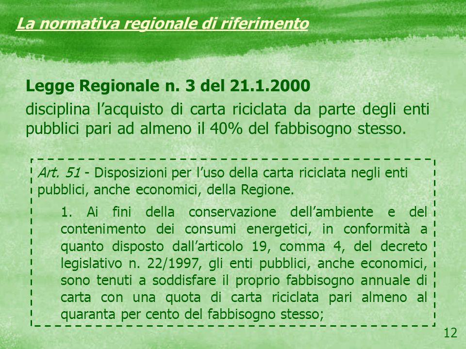 12 Legge Regionale n. 3 del 21.1.2000 disciplina lacquisto di carta riciclata da parte degli enti pubblici pari ad almeno il 40% del fabbisogno stesso