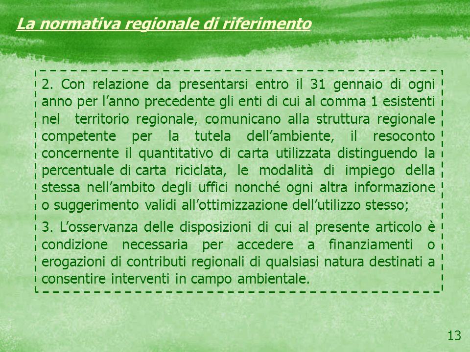 13 La normativa regionale di riferimento 2. Con relazione da presentarsi entro il 31 gennaio di ogni anno per lanno precedente gli enti di cui al comm