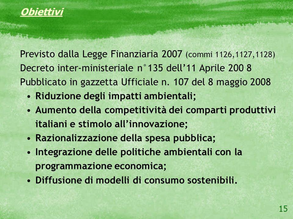 15 Obiettivi Previsto dalla Legge Finanziaria 2007 (commi 1126,1127,1128) Decreto inter-ministeriale n°135 dell11 Aprile 200 8 Pubblicato in gazzetta
