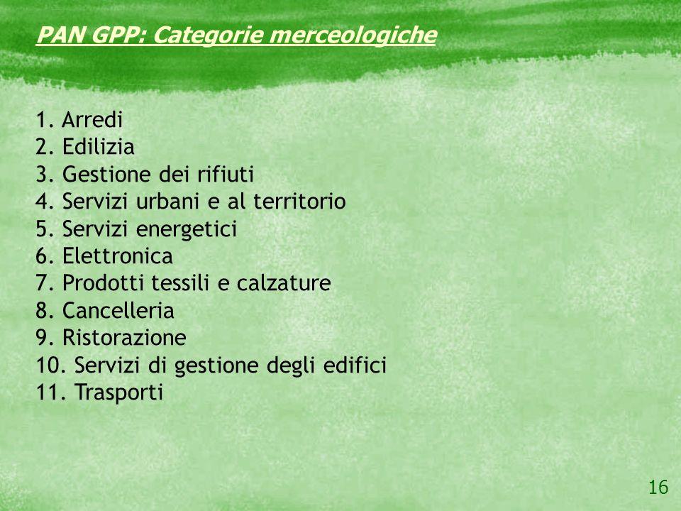 16 PAN GPP: Categorie merceologiche 1. Arredi 2. Edilizia 3. Gestione dei rifiuti 4. Servizi urbani e al territorio 5. Servizi energetici 6. Elettroni