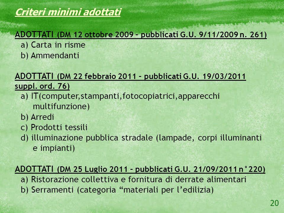 20 Criteri minimi adottati ADOTTATI (DM 12 ottobre 2009 – pubblicati G.U. 9/11/2009 n. 261) a) Carta in risme b) Ammendanti ADOTTATI (DM 22 febbraio 2