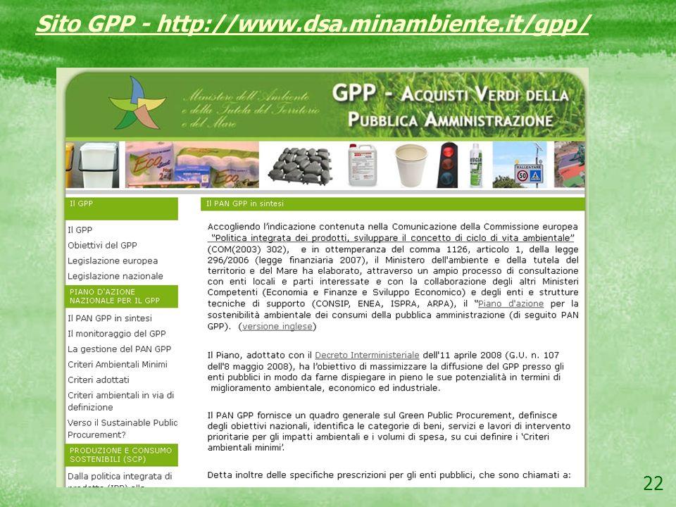 22 Sito GPP - http://www.dsa.minambiente.it/gpp/