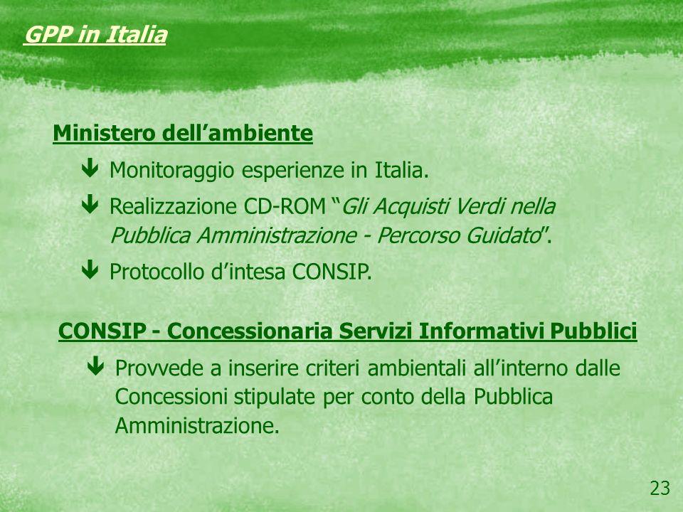 23 GPP in Italia Ministero dellambiente êMonitoraggio esperienze in Italia. êRealizzazione CD-ROM Gli Acquisti Verdi nella Pubblica Amministrazione -