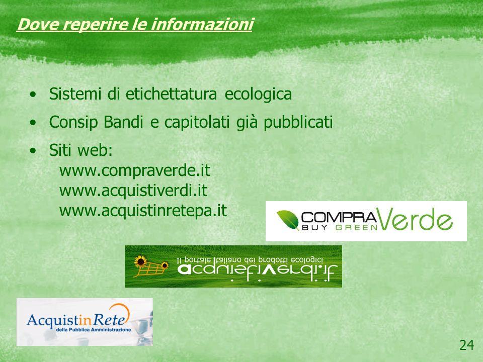 24 Sistemi di etichettatura ecologica Consip Bandi e capitolati già pubblicati Siti web: www.compraverde.it www.acquistiverdi.it www.acquistinretepa.i