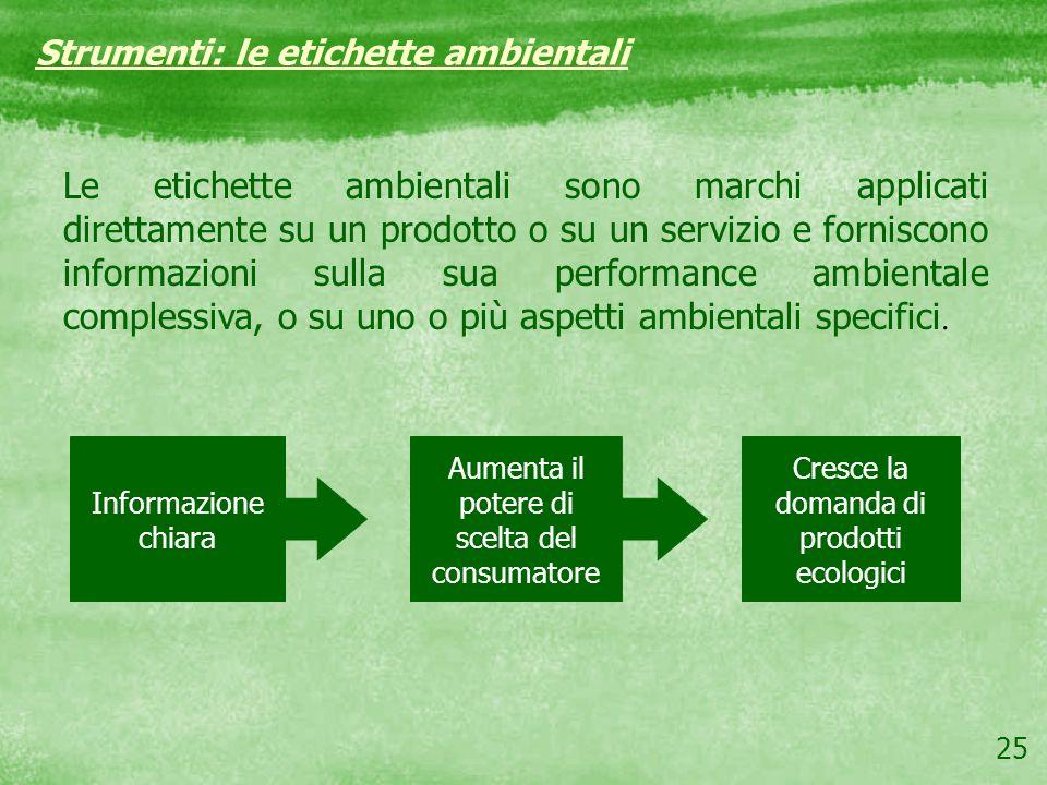25 Strumenti: le etichette ambientali Le etichette ambientali sono marchi applicati direttamente su un prodotto o su un servizio e forniscono informaz