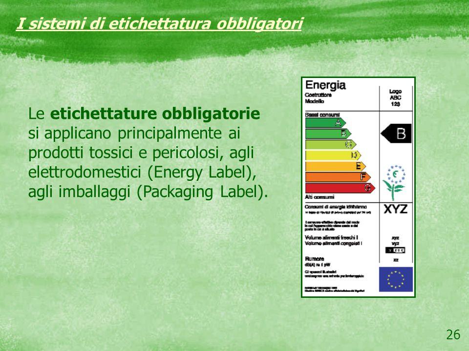 26 Le etichettature obbligatorie si applicano principalmente ai prodotti tossici e pericolosi, agli elettrodomestici (Energy Label), agli imballaggi (