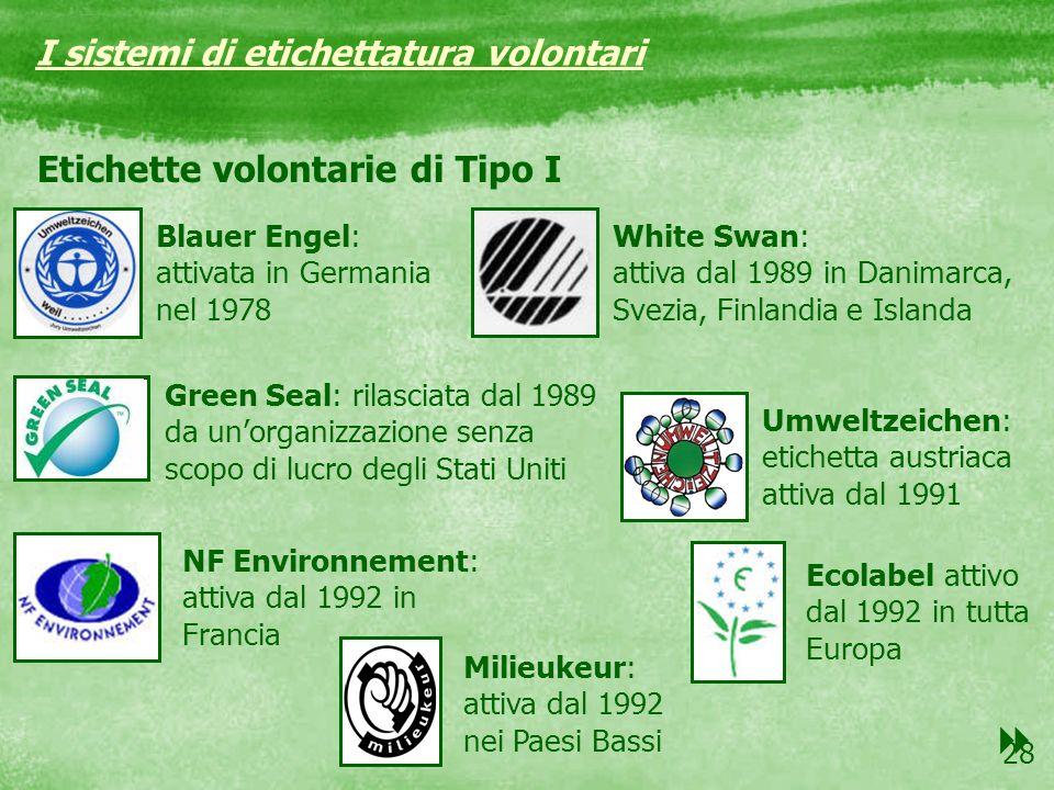 28 Etichette volontarie di Tipo I I sistemi di etichettatura volontari Blauer Engel: attivata in Germania nel 1978 White Swan: attiva dal 1989 in Dani