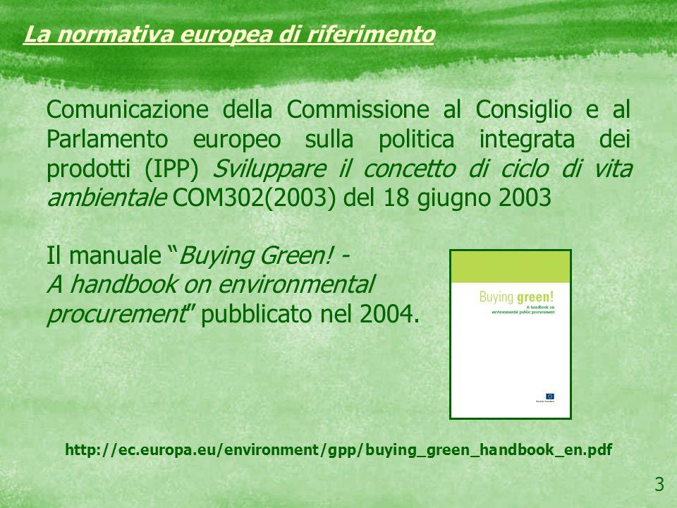 3 La normativa europea di riferimento Comunicazione della Commissione al Consiglio e al Parlamento europeo sulla politica integrata dei prodotti (IPP)