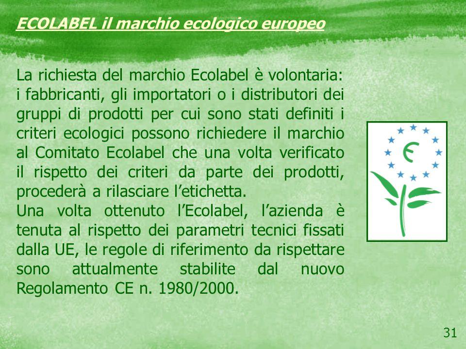 31 La richiesta del marchio Ecolabel è volontaria: i fabbricanti, gli importatori o i distributori dei gruppi di prodotti per cui sono stati definiti
