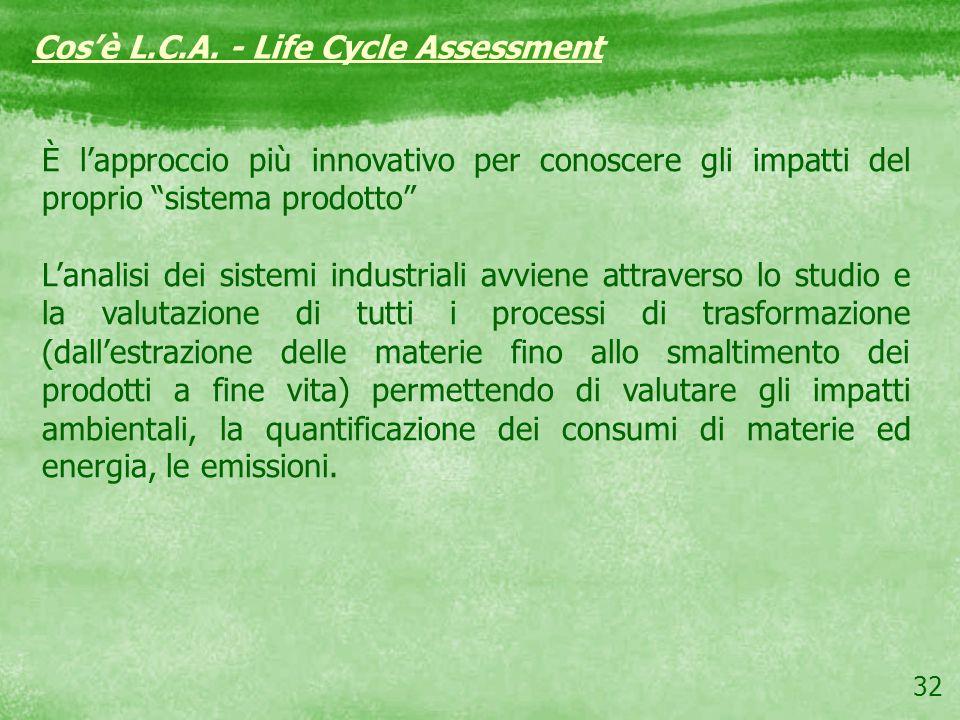32 Cosè L.C.A. - Life Cycle Assessment È lapproccio più innovativo per conoscere gli impatti del proprio sistema prodotto Lanalisi dei sistemi industr