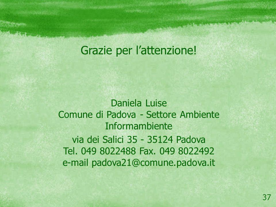 37 Grazie per lattenzione! Daniela Luise Comune di Padova - Settore Ambiente Informambiente via dei Salici 35 - 35124 Padova Tel. 049 8022488 Fax. 049