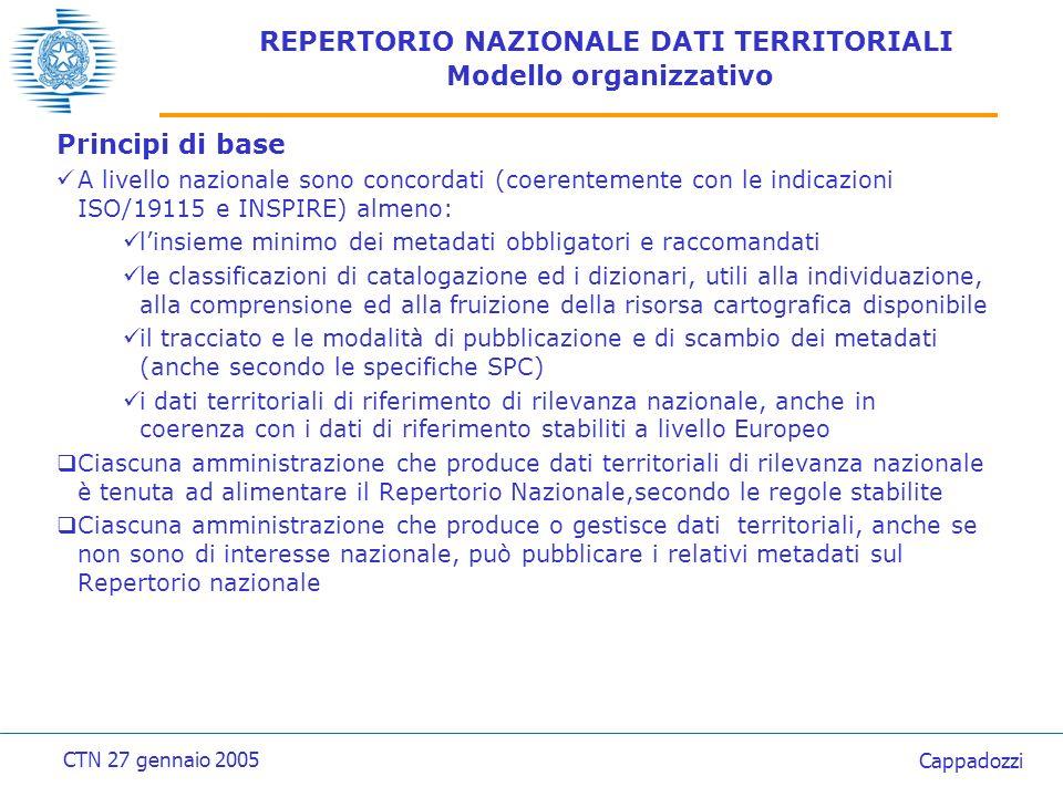 Principi di base A livello nazionale sono concordati (coerentemente con le indicazioni ISO/19115 e INSPIRE) almeno: linsieme minimo dei metadati obbligatori e raccomandati le classificazioni di catalogazione ed i dizionari, utili alla individuazione, alla comprensione ed alla fruizione della risorsa cartografica disponibile il tracciato e le modalità di pubblicazione e di scambio dei metadati (anche secondo le specifiche SPC) i dati territoriali di riferimento di rilevanza nazionale, anche in coerenza con i dati di riferimento stabiliti a livello Europeo Ciascuna amministrazione che produce dati territoriali di rilevanza nazionale è tenuta ad alimentare il Repertorio Nazionale,secondo le regole stabilite Ciascuna amministrazione che produce o gestisce dati territoriali, anche se non sono di interesse nazionale, può pubblicare i relativi metadati sul Repertorio nazionale CTN 27 gennaio 2005 Cappadozzi REPERTORIO NAZIONALE DATI TERRITORIALI Modello organizzativo