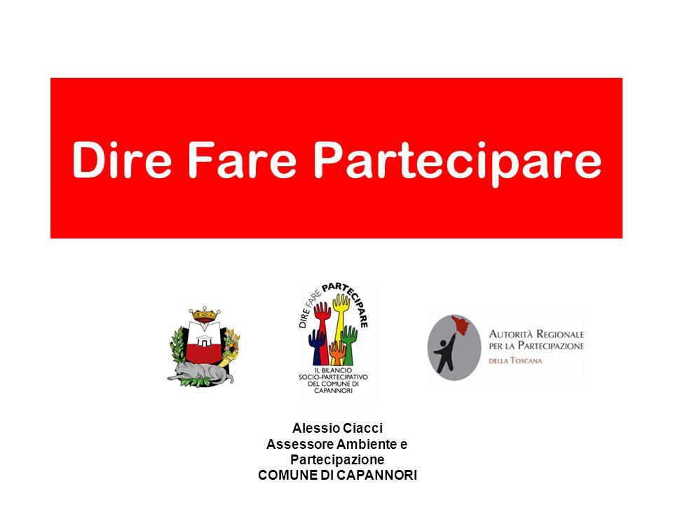 Alessio Ciacci Assessore Ambiente e Partecipazione COMUNE DI CAPANNORI Dire Fare Partecipare
