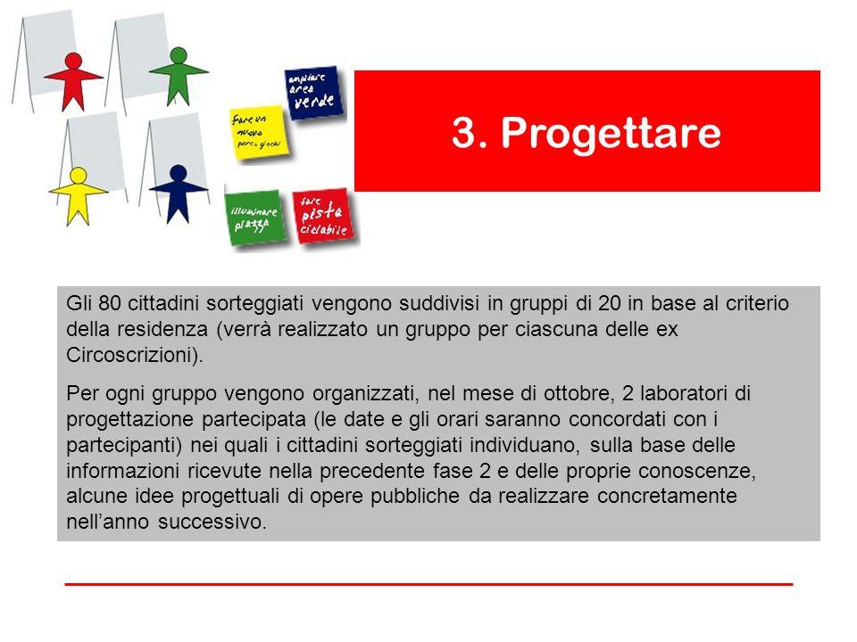 3. Progettare Gli 80 cittadini sorteggiati vengono suddivisi in gruppi di 20 in base al criterio della residenza (verrà realizzato un gruppo per ciasc
