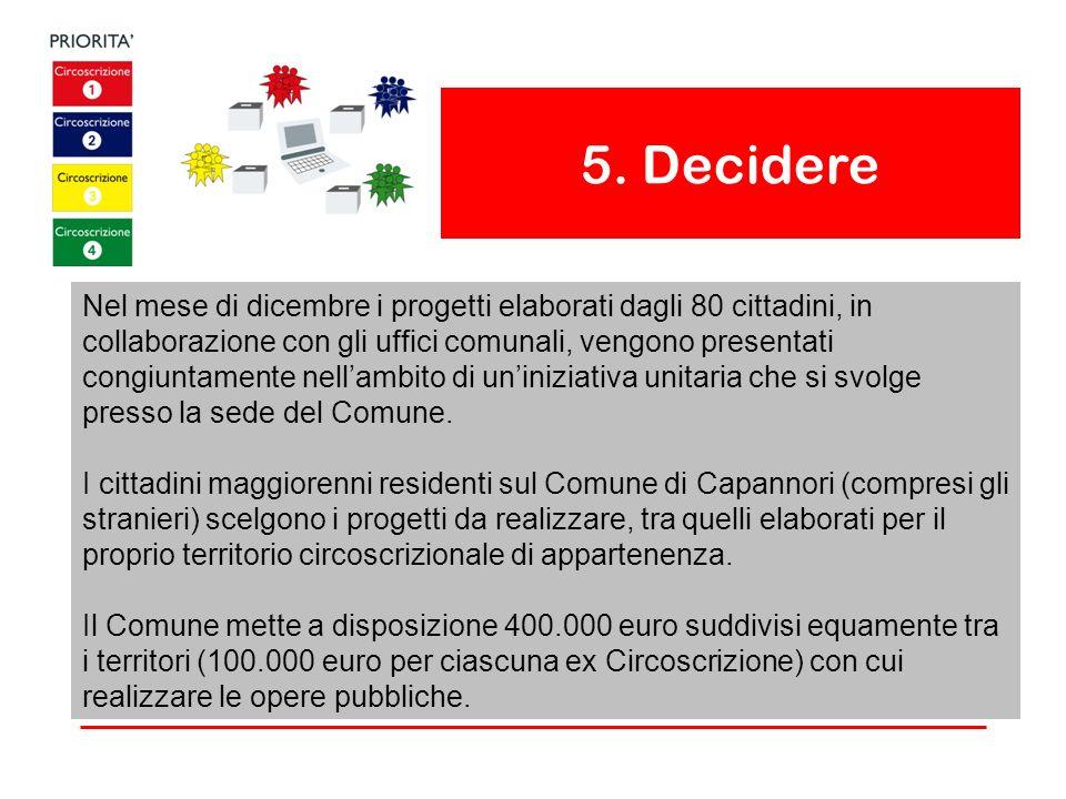 5. Decidere Nel mese di dicembre i progetti elaborati dagli 80 cittadini, in collaborazione con gli uffici comunali, vengono presentati congiuntamente