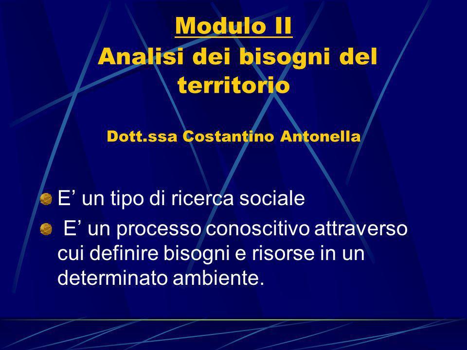 Modulo II Analisi dei bisogni del territorio Dott.ssa Costantino Antonella E un tipo di ricerca sociale E un processo conoscitivo attraverso cui definire bisogni e risorse in un determinato ambiente.